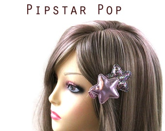 Pink Twin Star hair clip (3 color option)  Harajuku accessories for decora fashion,casual wear,cosplay,fae loli,cosplay,sweet lolita