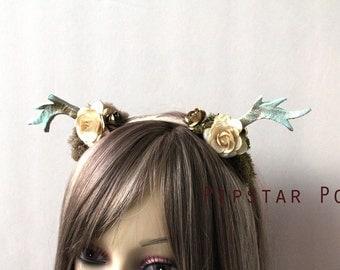Moss and Gold Rose Druid Deer Antler headband (Tatiana) Woodland Mori kei Fashion headdress for flower girls, harajuku fashion, cosplay,larp