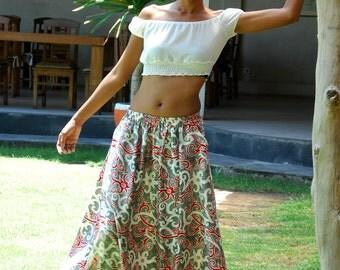Ethnic Maxi Skirt in Red and White / Long Skirt with Pockets / Ikat Skirt / Summer Skirt / Elastic Waist