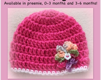 "Baby girl hat, bubblegum pink hat, newborn, 0-3 months, flower hat, preemie girl hat doll hat 18"" doll 18 inch doll, large doll hat"
