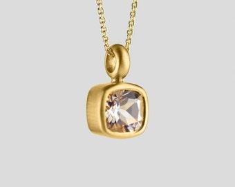 Morganite Necklace 22Kt Gold | natural birthstone Morganite pendant Square bezel pendant, birthstone pendant unique gold pink gem birthstone