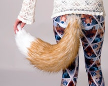 Pawstar Spicyfox Realistic Fox Tail Faux Fur Fake Plush Costume Big Rust Brown Copper Tan White Fluffy Spicy Spice and Wolf 3554