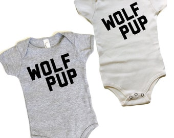 Wolf Pup  - Organic cotton Romper - Wolf One-piece - Grey or natural white baby top - Wolfpack