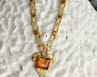 Czechoslovakia Gilt Brass Link and Citrine Glass Necklace, Embossed, Jeweled Links, Paperclip Chain, Lavalier Drop, Metal Signed Plaque
