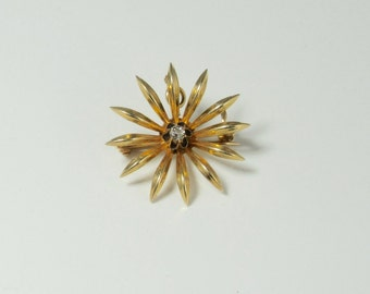 Sunburst Pin/Pendant, Antique Brooch, Brooch or Pendant, Antique Sunburst Pin, Antique Gold Sunburst Pin, Antique Diamond Pin