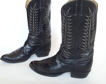 TONY LAMA Black Label Leather Western Boots • Black White Stitching Cowboy Boots • Mens Size 9 10 • Made in USA