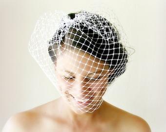 White Birdcage Veil, English Merry Widow Veil, Ivory Veil, Black Veil, Wedding Veil, Bridal Veil, Face Covering Birdcage