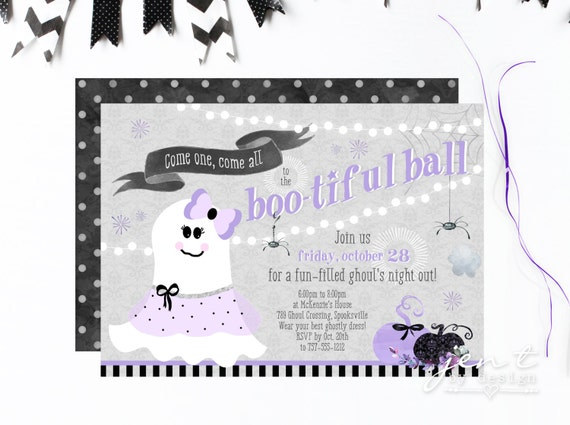 Bootiful Ball - Ghost Halloween Party Invitations - Ghouls Night Out by Jen T by Design