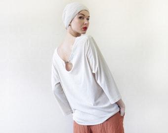 Vintage light beige semi sheer simple minimalist long sleeve keyhole cut out back tunic sweater top