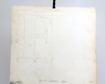Letter F, industrial drawing, original font casting drawing, typographic drawing: 18pt Series 328. Cap F 1932.