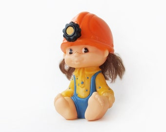 Vintage Cute Miner, Baby Coal Miner, Soviet Rubber Toy