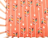 Crib Sheet Colorful Arrows on Coral. Fitted Crib Sheet. Baby Bedding. Crib Bedding. Minky Crib Sheet. Crib Sheets. Arrow Crib Sheet.