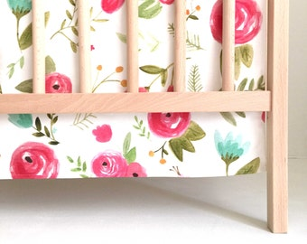 Crib Skirt Happy Floral. Baby Bedding. Crib Bedding. Crib Skirt Girl. Baby Girl Nursery. Floral Crib Skirt. Pink Crib Skirt.