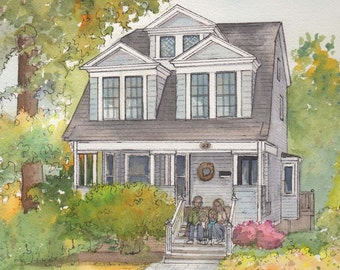 Artist rendering of your home painted in watercolor with ink detailing, Custom house portrait, Commissioned architectural home portrait