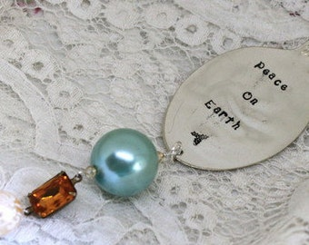 Christmas Ornament - PEACE ON EARTH - Vintage Spoon Silverware Ornament - Aqua, Topaz - Keepsake Gift Made in Usa
