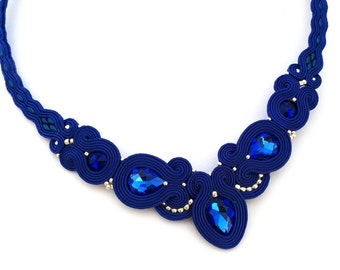birthday gift for wife statement necklace - soutache necklace - soutache jewelry - blue bib necklace - birthday gift for girlfriend cobalt