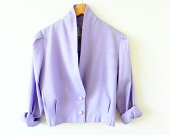 Lavender Cropped Vintage Jacket / 80s Cropped Pastel Blazer / Pastel 80s Jacket