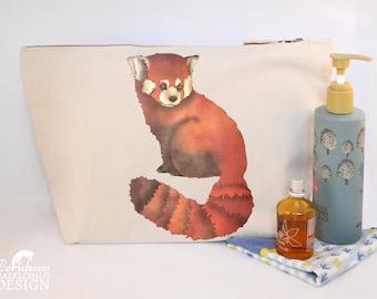 Red Panda Canvas Wash Bag, Large Zipper Pouch, Makeup Bag, Toiletry Bag, Accessory Bag