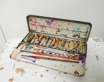 Vintage artist paint box, TALENS, Antique, 1950, Boite de peinture