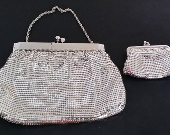 Vintage Silver Duramesh Purse with Whiting & Davis Change Purse and Unusual Square Opening