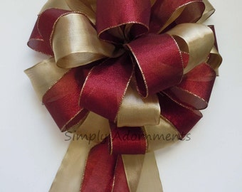 Gold Burgundy Christmas Bow Shabby Chic Gold Cranberry Red Christmas Tree Topper Bow Winter Holidays Burgundy Gold Tree Bow Wreath Swag Bow