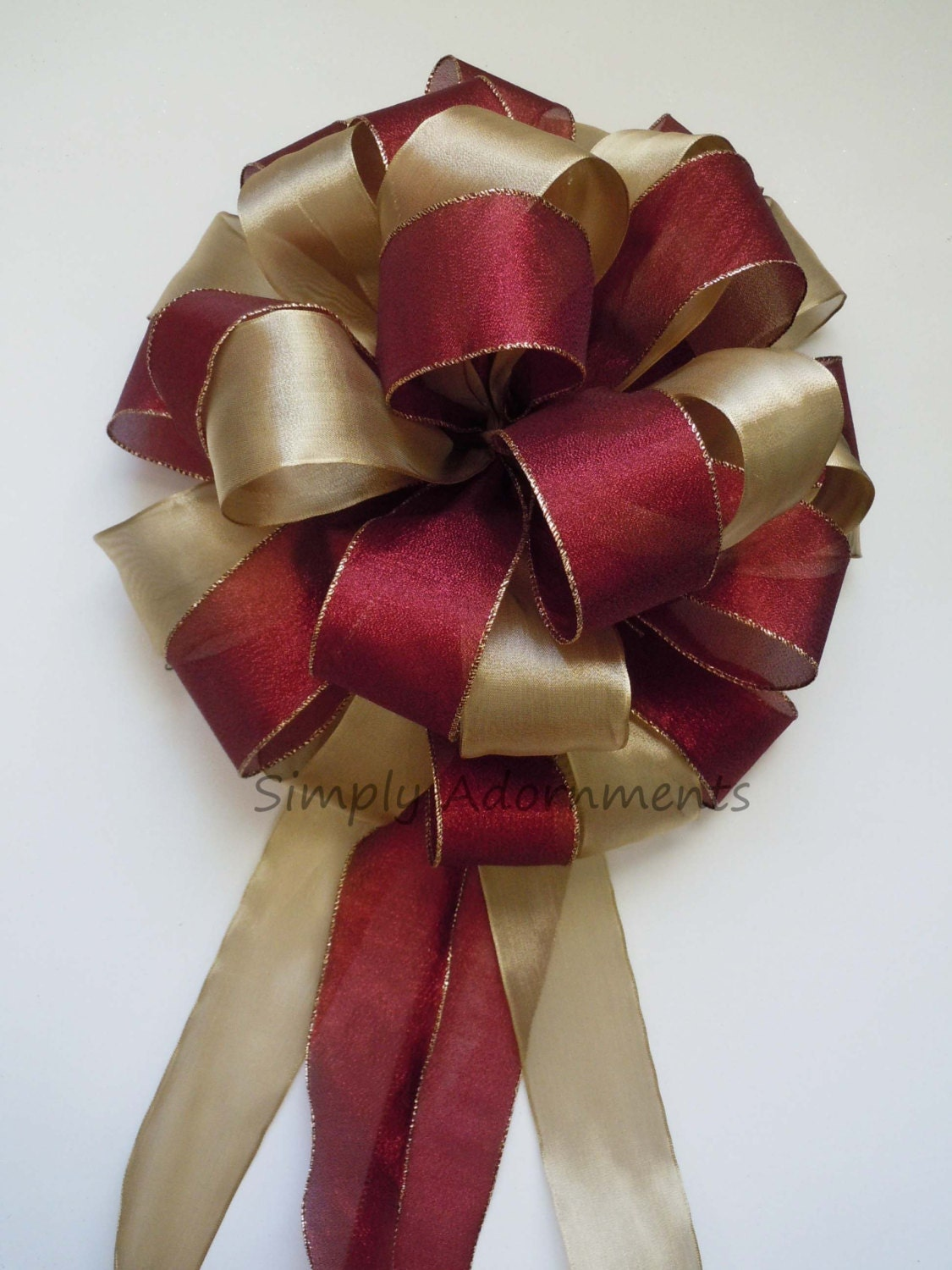 gold burgundy christmas bow shabby chic gold cranberry red. Black Bedroom Furniture Sets. Home Design Ideas