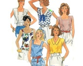 McCalls 2429 Misses Shirts Tops Easy Fast Vintage Sewing Pattern Large Size 18 20 Bust 40 42 Uncut