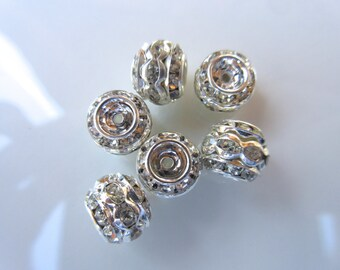 Triple stack Clear Rhinestone barrel rondelle bead 9mm x 10mm Bright Silver vintage style jewelry finding brass bead 6pc R103
