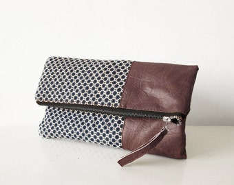 Fold over clutch purse, Clutch bag, Canvas and faux leather, Geometric , Foldover bag