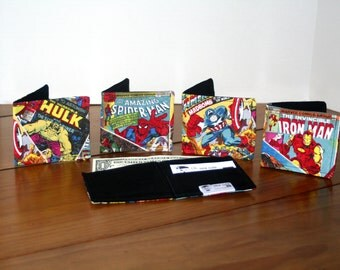 Superhero wallet ,  Superhero Money Clip, boys wallet, fabric wallet, childs wallet, handmade childs wallet, superhero childs wallet