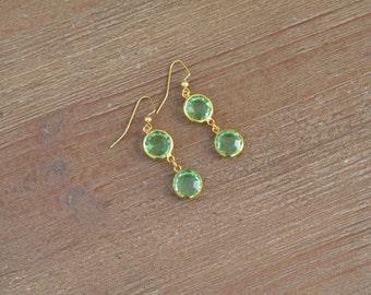 Green and Gold Dangle Earrings - Green Drop Earrings - Green Glass Earrings - Rhinestone Earrings - Mint Green Earrings - Green Bridesmaid