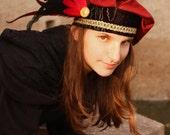 READY TO SHIP - Unisex Fantasy Vintage Renaissance faire black burgundy feather brooch larp medieval floppy beret shakespeare