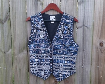 S M Small Medium Vintage Women's 80s 90s Made in India 100% Cotton Black Blue Embroidered Ethnic Hipster Indie Alternative Vest Waistcoat