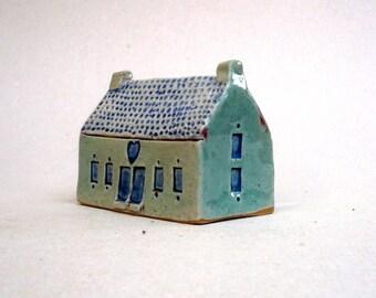 Turquoise Village House,  Fine Art Ceramics ,Ceramic Sculpture, Country Cottage