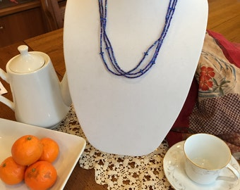 Handmade beaded necklace- cobalt blue