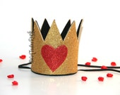 Queen of Hearts Crown // Alice in Wonderland Crown // QOH Crown // Gold Crown // Crown Headband // by Born TuTu Rock
