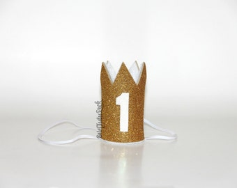 1st Birthday Crown // Gold & White First Birthday Crown // Mini Crown // Ready to Ship // by Born TuTu Rock