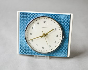 Vintage Kienzle wall clock, Kienzle clock, blue pottery clock, Ceramic kitchen clock 60s