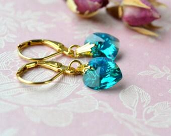 Swarovski Heart Earrings, Teal Earrings, Sparkly Earrings, Blue Swarovski Earrings, Blue Zircon Swarovski Jewelry, Small Drop Earrings UK