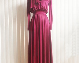 Vintage 70s burgundy red dress/deep red mother of the bride dress/ red wine formal gown/ maxi gown/ lace high collar long dress