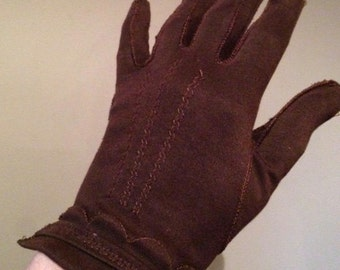 Vintage 1950s Chocolate Gloves 2-button Length - Cotton