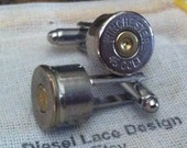 Bullet cufflinks Colt 45 6 pair nickel plated silver tone backings handgun groomsmen wedding cuff links men