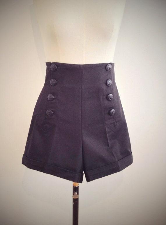 BLACK SAILOR SHORTS high waist 1940's style swing pants.