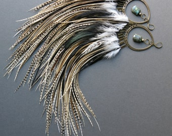 Huge Earrings - Extra Long Feather Earrings - Big Statement Earrings - Burning Man Festival Jewelry - Tribal Feather Chandelier Earrings