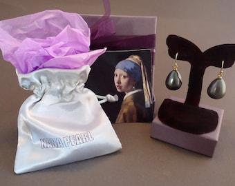 """Black Teardrop pearl earrings from the painting """"Girl with a Pearl Earring"""" by Vermeer. medium"""