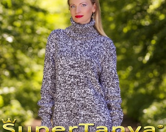 Hand knitted cotton sweater in black and white by SuperTanya