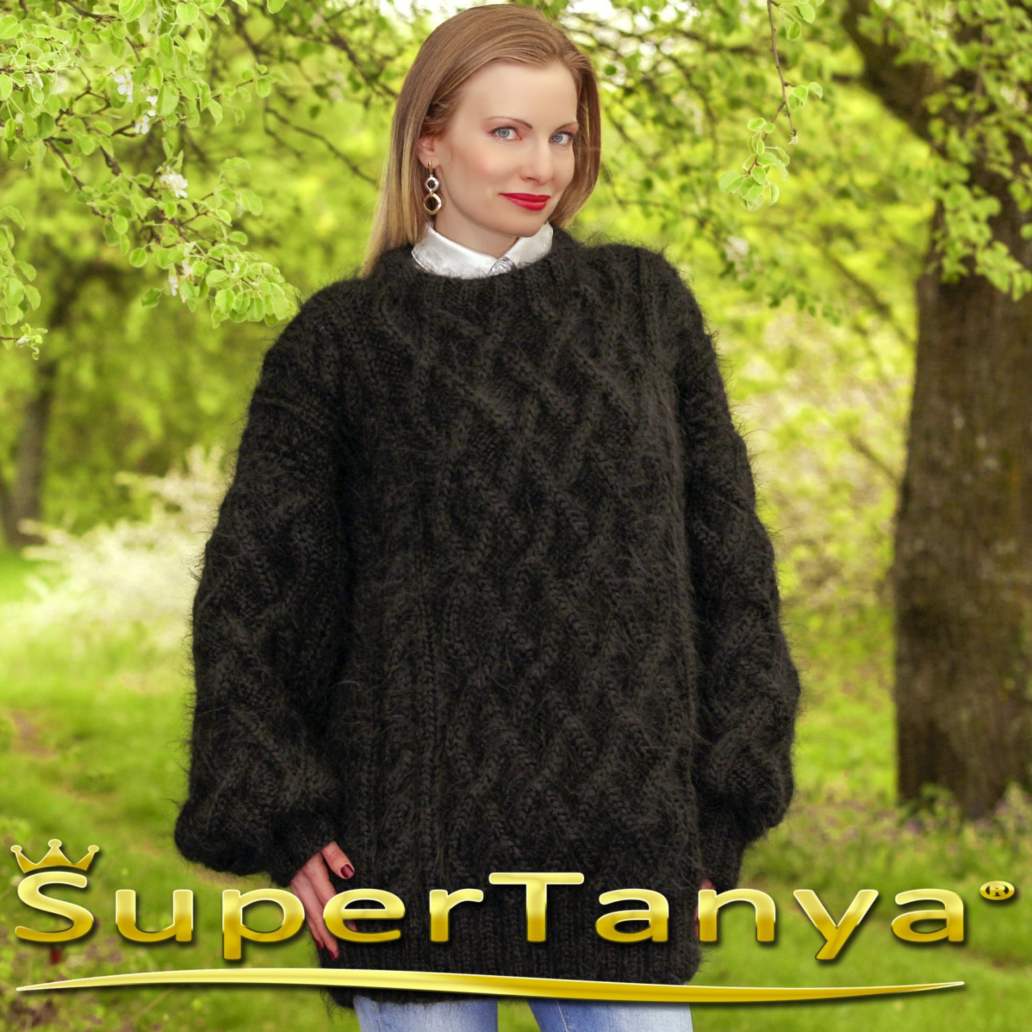 Made to order Aran sweater in black by SuperTanya sweaters