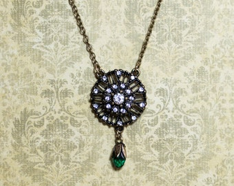 Antique Vintage Style Pendant with Green Crystal Bead
