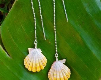Sunrise Shell Ear Thread Earrings, Hawaii Shell jewelry, Sterling Silver Ear Thread, Shell earrings, Dangle earrings