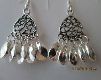 Silver Tone Chandelier Earrings with Silver Teardrop Bead Dangles